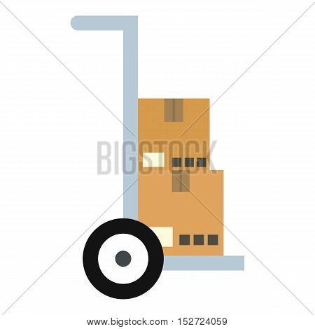 Hand truck with cardboard boxes icon. Flat illustration of truck vector icon for web design