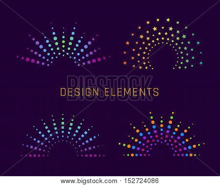 Fireworks arch design elements for logo. Explosion colorful shape. Vector illustration
