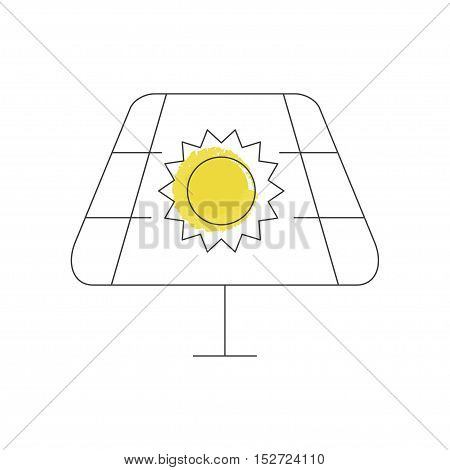 Pollution icon illustration made in line style. Environmental protection. Web design with symbol of solar battery, concept for earth conservation. Vector eps10