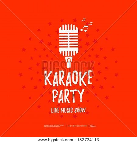 Karaoke party poster with retro microphone icon. Vector illustration