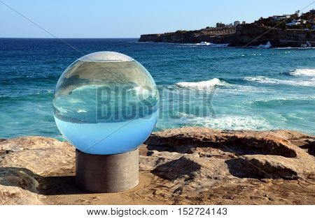 Sydney Australia - Oct 26 2013. Sculpture by the Sea along the Bondi to Coogee coastal walk is the world's largest free to the public sculpture exhibitions.
