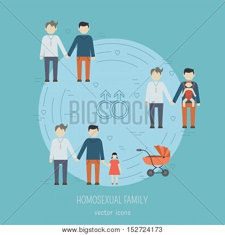 Nontraditional family flat icons composition gay homosexual couples. Happy gay couple with children. Vector illustration.