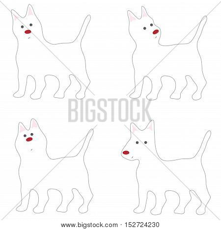 White Dog Acting Cute cartoon abstract design looklike Siberian Husky Alaskan Malamute on white background isolate.