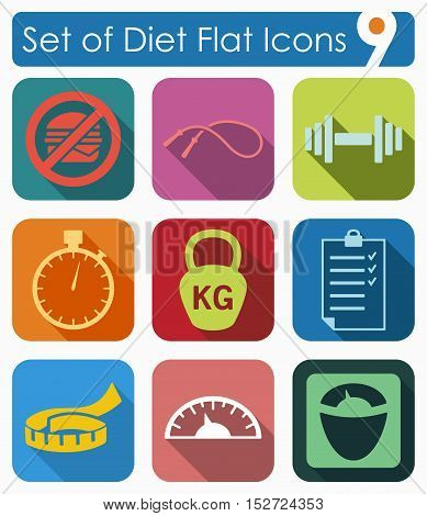 Set of diet flat icons for Web and Mobile Applications