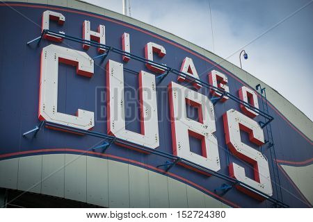 Chicago, Illinois - October 7, 2016 Chicago Cubs Sign at Wrigley Field major league baseball team post season