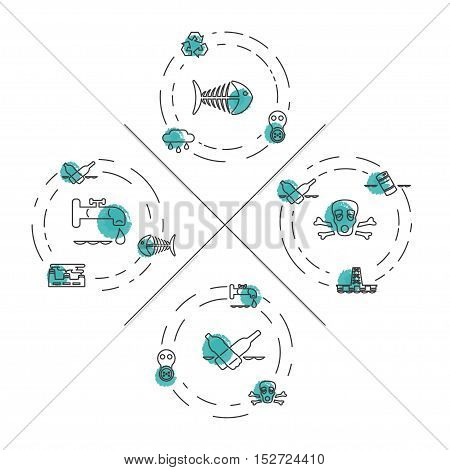 Set Ecology and Environment Business icons for template website. Environmental protection and pollution set of icons in thin line design. Vector illustration eps10