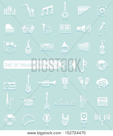 Set of music flat icons for Web and Mobile Applications