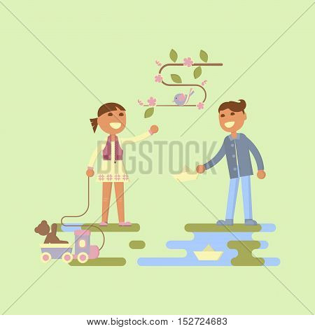 Illustration of kids playing outdoors in spring. Baby girl with toys with hand feed the bird and boy let go boats in the creek. Flat design of season. Vector illustration eps