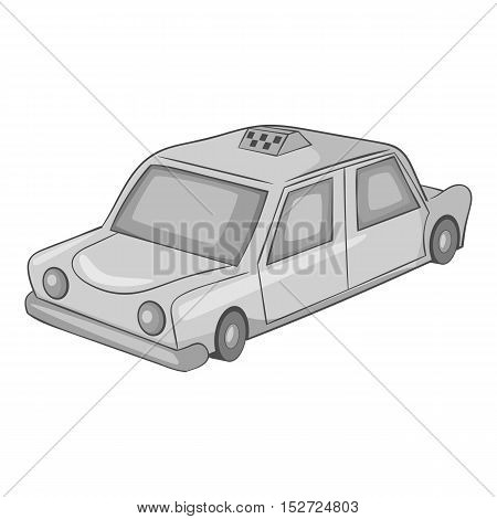 Taxi car icon. Gray monochrome illustration of taxi car vector icon for web