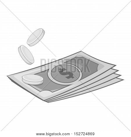 Dollars and coins icon. Gray monochrome illustration of dollars and coins vector icon for web