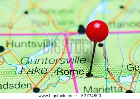 Rome pinned on a map of Georgia, USA