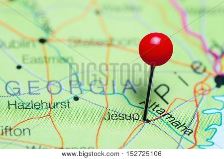 Jesup pinned on a map of Georgia, USA