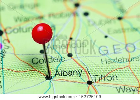 Albany pinned on a map of Georgia, USA