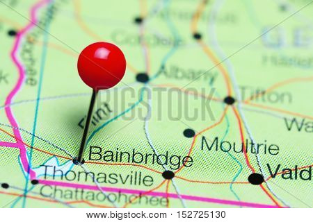 Bainbridge pinned on a map of Georgia, USA