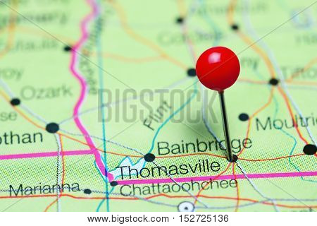 Thomasville pinned on a map of Georgia, USA