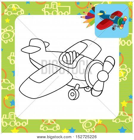 Cartoon toy plane. Coloring page. Vector illustration