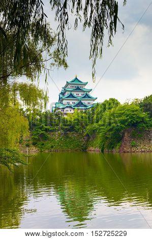 Nagoya Castle Framed Hanging Leaves Tree V