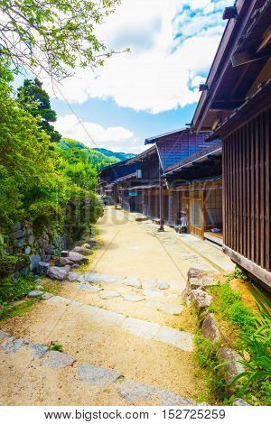 Row Traditional Japanese Village Houses Tsumago V