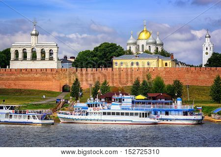 Golden And Silver Dome Churches In Novgorod Kremlin, Russia