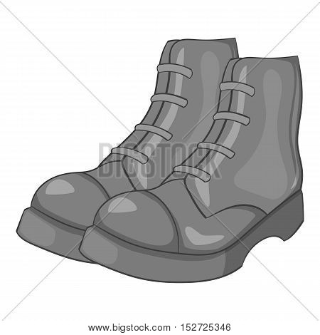 Men boots icon. Gray monochrome illustration of men boots vector icon for web
