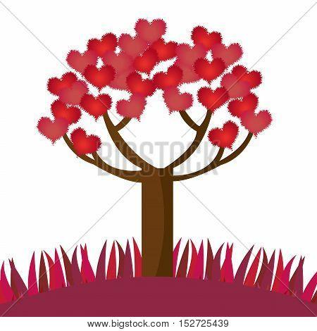 romantic tree hearts lovely design vector illustration eps 10