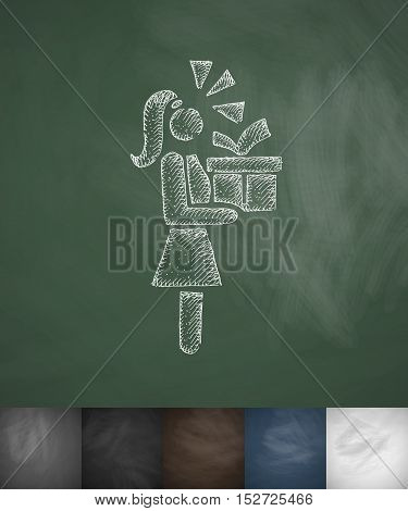 girl with gift icon. Hand drawn vector illustration. Chalkboard Design