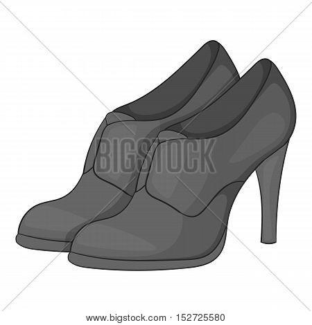 Women shoes on platform icon. Gray monochrome illustration of women shoes on platform vector icon for web