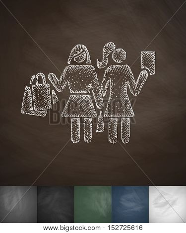 Two girls with shopping bags icon. Hand drawn vector illustration. Chalkboard Design
