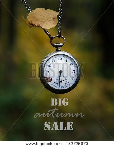Old pocket watch and autumn leaf. Big Autumn sale Concept .