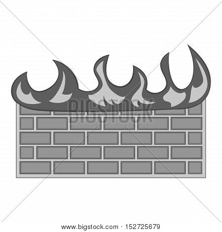 Fire protection of files icon. Gray monochrome illustration of fire protection of files vector icon for web