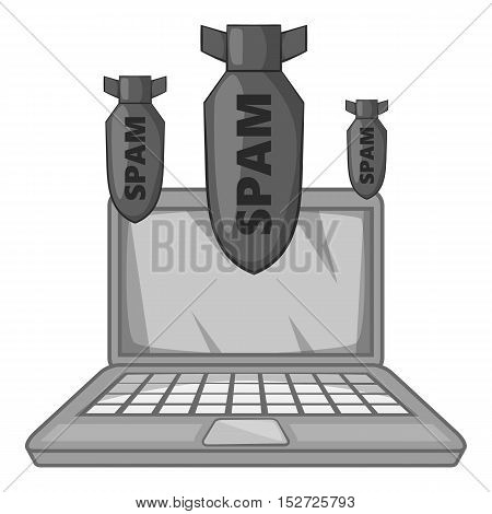 Spam on laptop icon. Gray monochrome illustration of spam on laptop vector icon for web