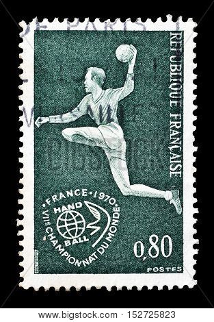 FRANCE - CIRCA 1970 : Cancelled postage stamp printed by France, that shows Handball.
