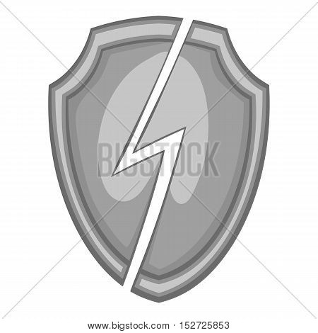 Protective shield with lightning bolt icon. Gray monochrome illustration of protective shield with lightning bolt vector icon for web