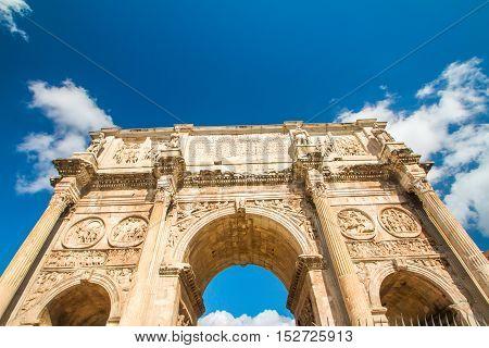 Spectacular Arch of Roman emperor Constantine, located between Colosseum and Forum Romanum, Rome, Lazio, Italy
