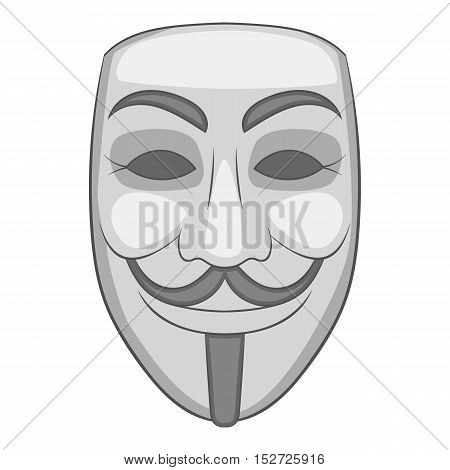 Mask of anonymous icon. Gray monochrome illustration of mask of anonymous vector icon for web