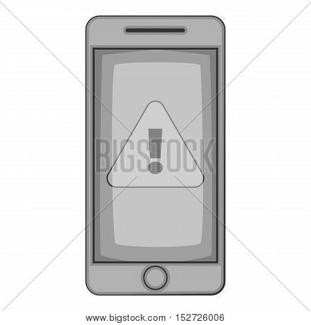 Warning on mobile phone icon. Gray monochrome illustration of warning on mobile phone vector icon for web