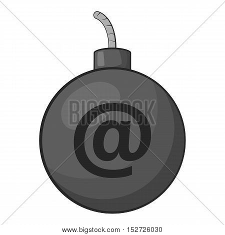 Bomb in e-mail icon. Gray monochrome illustration of bomb in e-mail vector icon for web