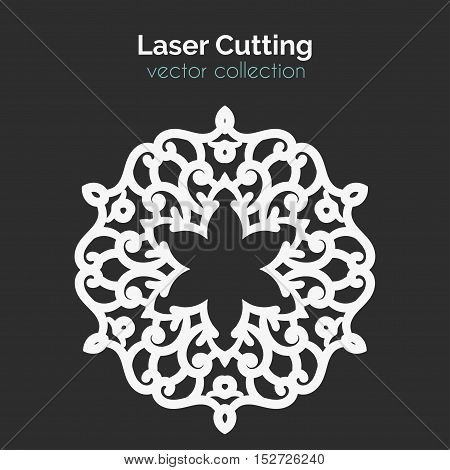 Laser Cutting Template. Round Card. Die Cut Mangala. Cutout Illustration With Ornamental Lace Decoration For Wedding Invitation Cards. Die Cut Mangala. Vector Design.