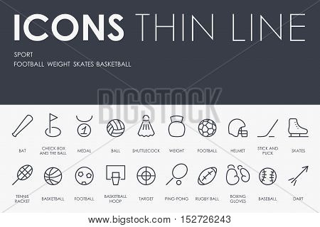 Thin Stroke Line Icons of Sport on White Background