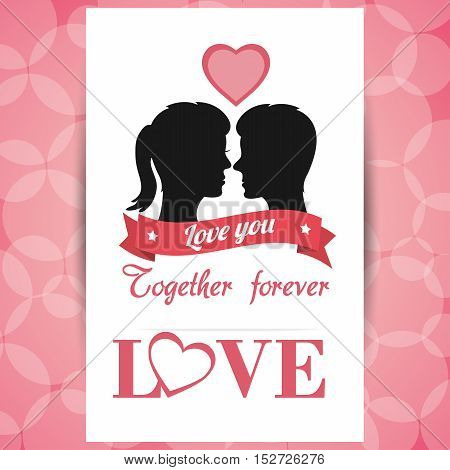 postcard love couple together forever with pink circle background vector illustration eps 10