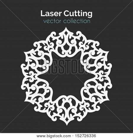 Laser Cutting Template. Round Card. Die Cut Mangala. Cutout Illustration With Ornamental Lace Decoration. Vector Design.