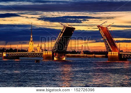 The Palace Bridge On Neva River, St Petersburg, Russia