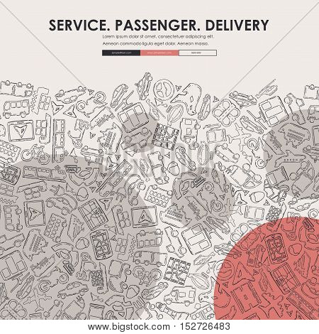 delivery Website Template Design with Doodle Background
