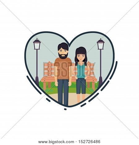 Couple of woman and man cartoon inside heart. Relationship family romance and love theme. Landscape design. Vector illustration