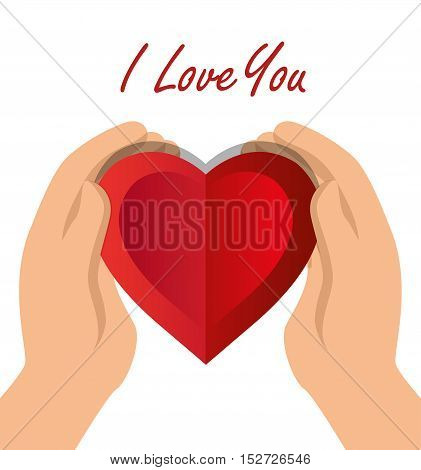 i love you hand hold heart with shadow icon vector illustration eps 10