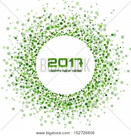 Green Circle New Year 2017 on white Background. Transparent green circles frame. Vector illustration
