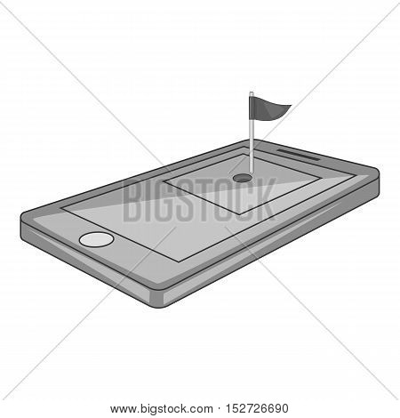 Golf course on phone icon. Gray monochrome illustration of golf course on phone vector icon for web