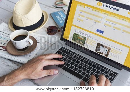 Person Booking Flight Online Concept