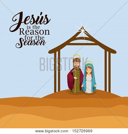 House mary and joseph icon. Holy family and merry christmas season theme. Colorful design. Vector illustration
