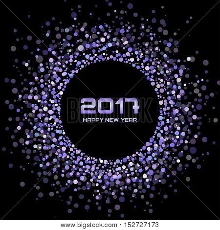 Violet Bright New Year 2017 on black Background.  Glowing confetti circle new year frame. Violet shining circle background. Vector illustration